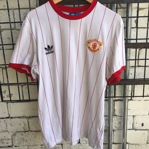 Adidas Manchester United MUFC Red Pinstriped tee